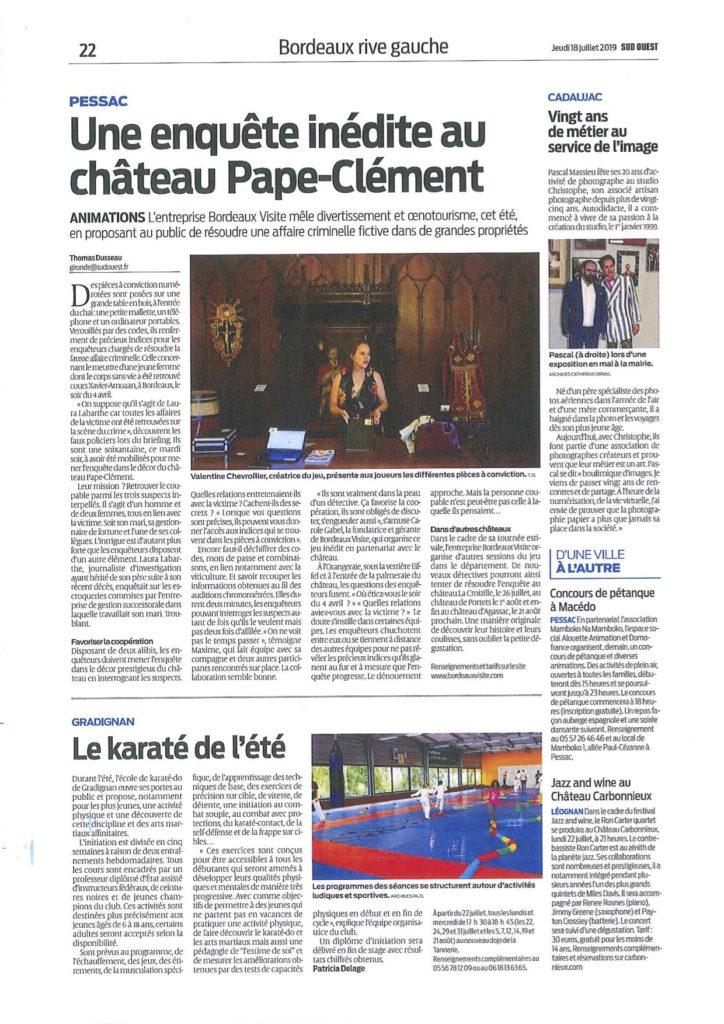 Enquête au Château de Portets sur la presse